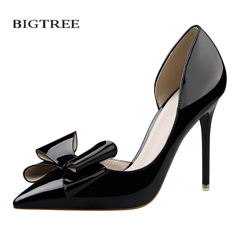 BIGTREE Spring Sweet High Heels Shoes Thin High-heeled Pointed Bow Patent Leather Girl Shoes Elegant Female Women shoes G638-3 bigtree spring summer women pumps sweet bow knot high heeled shoes thin pink high heel shoes hollow pointed stiletto elegant 22