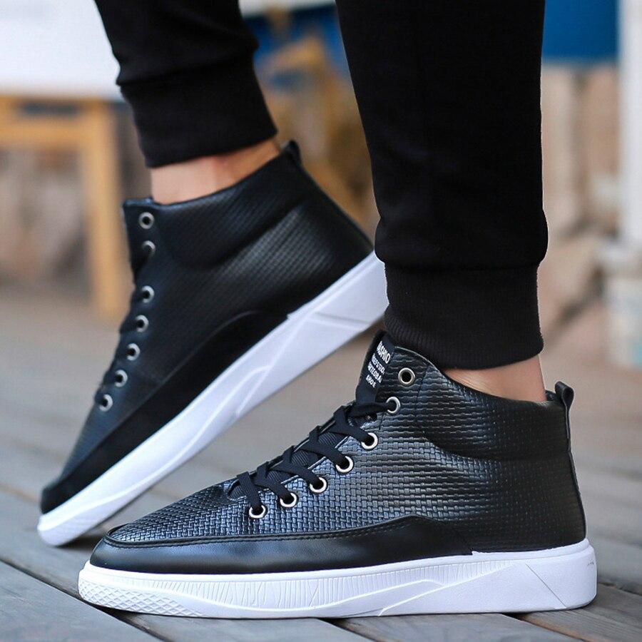 white Chaussures Courtes High Dentelle Cut Hommes Sneakers Black Simples En Décontracté Chic Slip Plus La Taille Tendance Mâle Cuir blue Homme Up Sur Bottes nw8gYRyq