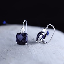 New Fashion Gemstone Earrings For Women Girl Geometric Section Authenic 100% 925 Sterling Silver Band Jewels