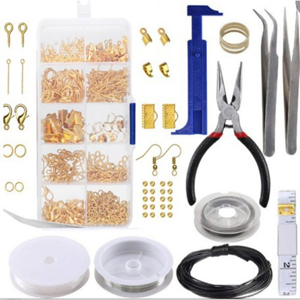 10 Grid DIY Adults Findings And Beading Repair Tool Jewelry Making Kit With Accessories Handmade Metal Wires Necklace Materials(China)