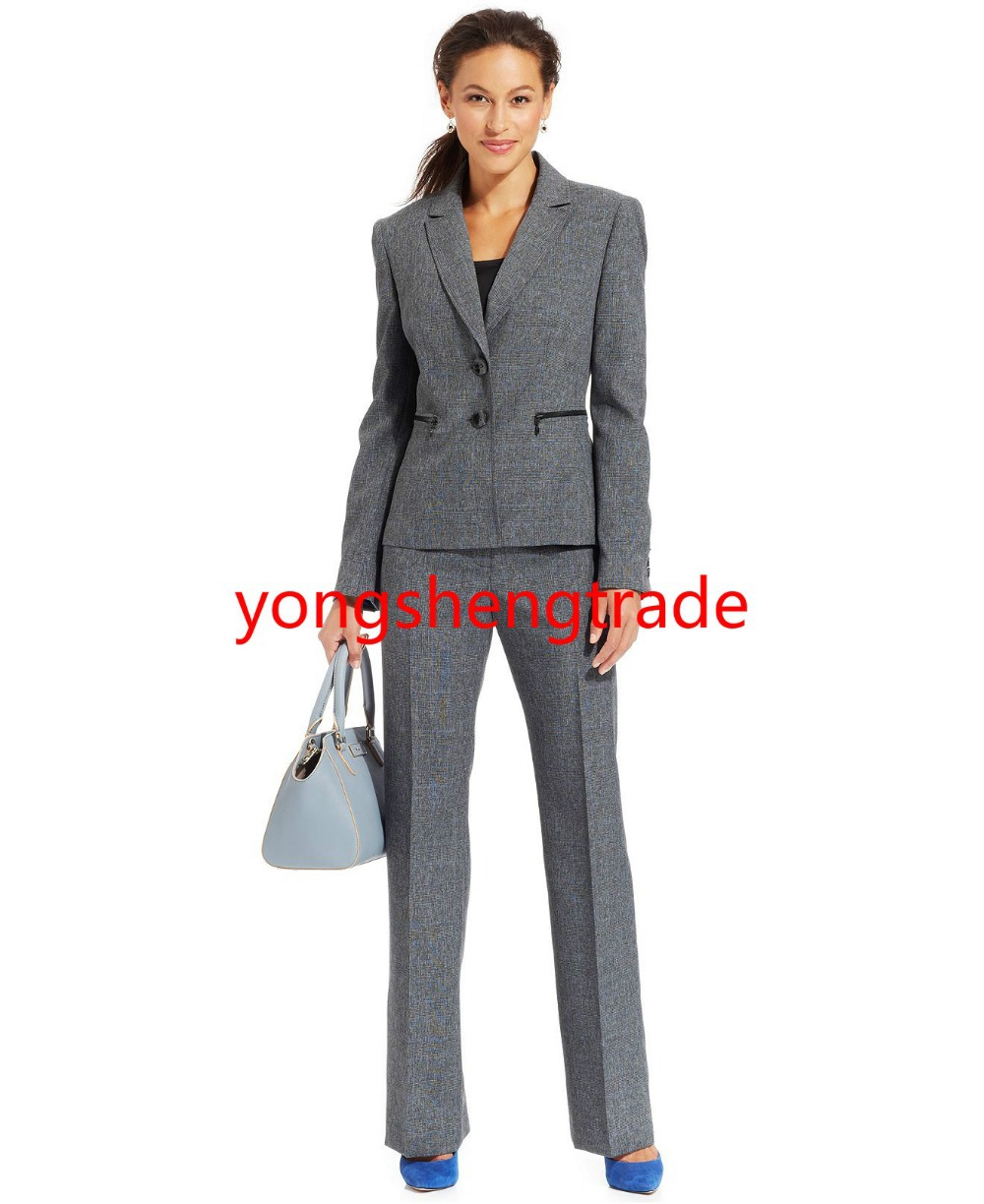 Brand Gray Custom Made Suit Notched Collar Zip Pockets Jacket Mid Rise Straight Fit Pants Full Lined 732