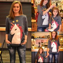 Newest Fashion Spring Autumn Casual T Shirt Family Dress Mother Daughter Unicorn Matching Womens Tops Girls Dresses 2-6T S-XL