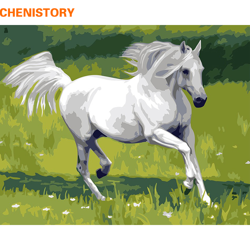 CHENISTORY White Horse DIY Digital Painting By Numbers Uniqu