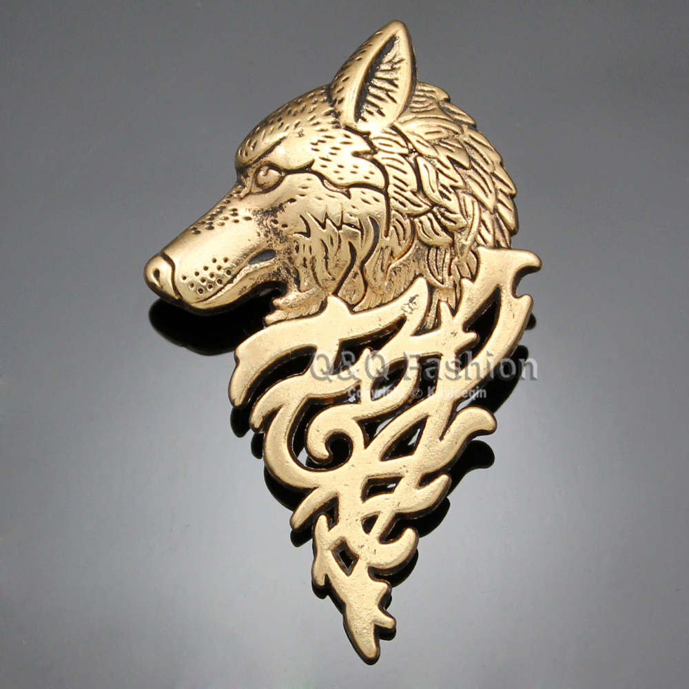 Art Nouveau Dire Wolf Head Coyote Antique NAVAJO Zuni Lapel Brooch Pin Badge Jewelry 2018 New