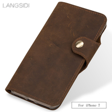 wangcangli Genuine Leather  phone case leather retro flip For iPhone 7 handmade mobile