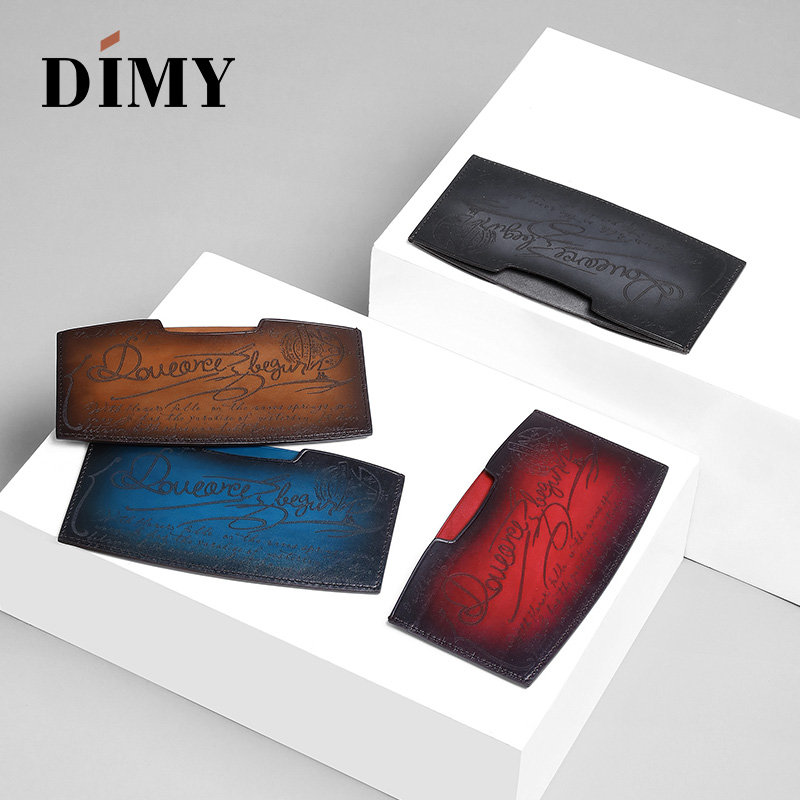 DIMY Famous Brand Cowhide Leather Money Clips Cheque Holder Checkbook Holder Letter Cash Wallet For Men Hand Patina Dropshipping