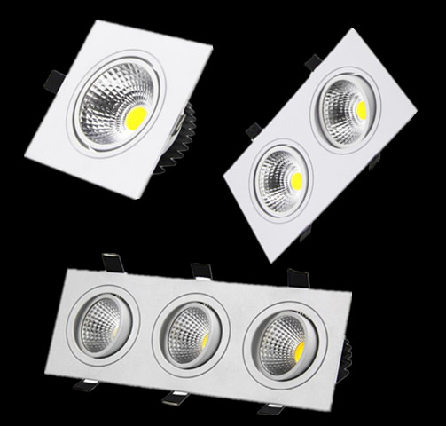 White Dimmable Led Downlight Lamp 7W 9w 12w 15w 35w Cob Led Spot 220V / 110V Ceiling Recessed Downlights Square Led Panel Light