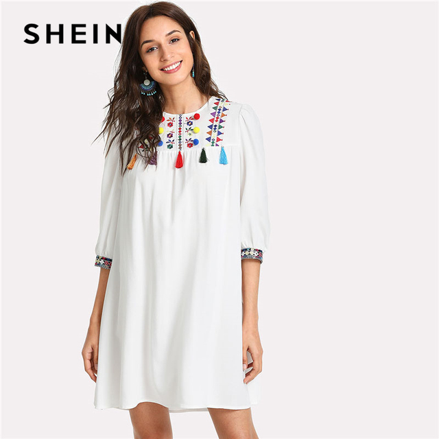 cdfa5444d9c2 SHEIN Embroidered Yoke Pompom And Tassel Dress Women Round Neck Puff Sleeve  Geometric Dress 2018 3