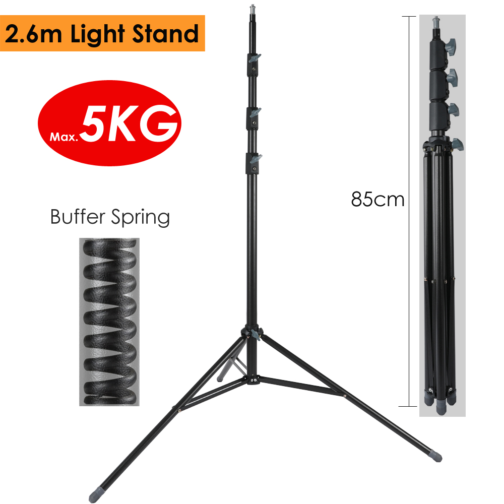 2 6m 102 36 Heavy Duty Light Stand Max Load 15KG w Buffer Spring Protection Steel