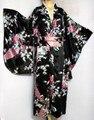 Envío gratis negro Vintage mujer japonesa de satén de seda del Kimono Yukata vestido de noche del pavo real un tamaño H0030 #