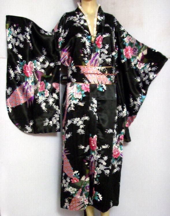 Free Shipping Black Vintage Japanese Women's Silk Satin Kimono Yukata Evening Dress Peafowl One Size H0030#
