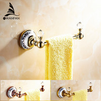 Wholesale And Retail Free Shipping Crystal Towel Rack Holder Golden Brass Wall Mounted Square Towel Hanger