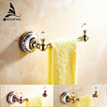 Free Shipping crystal Towel Rack Holder Golden Brass Wall Mounted Square Towel Hanger Towel Bar home decoration 6318