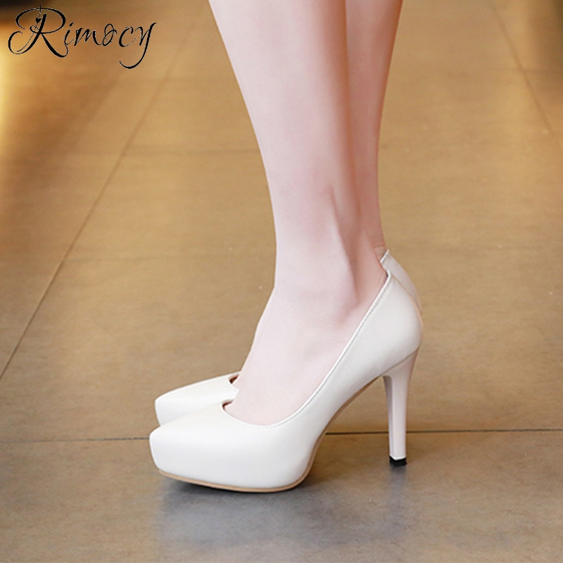 Rimocy round toe basic 10cm high heels pumps women 2017 office ...