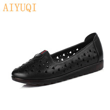 AIYUQI Womens flat shoes 2019 spring new genuine leather female hole shoes, large size 41 42 summer casual loafers women sandal