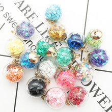 10pcs 16MM Colorful Transparent Glass Ball Charms Quicksand Star Sequin DIY Pendants Bracelet Hair Jewelry Accessories YZ053(China)