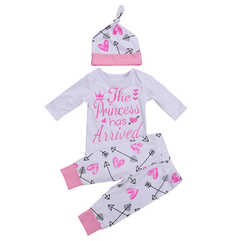New Style Newborn Kids Infant Baby Girls Clothes Long Sleeve Romper Jumpsuit + Long Pants Outfit Baby Clothing Set