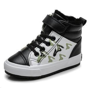 Image 2 - Herfst Winter Jongens Mode Laarzen voor Kinderen Schoenen Leer Waterdicht Sneeuw Boot Kids Ankle Martin Laarzen Pluche Warm Sport Schoenen