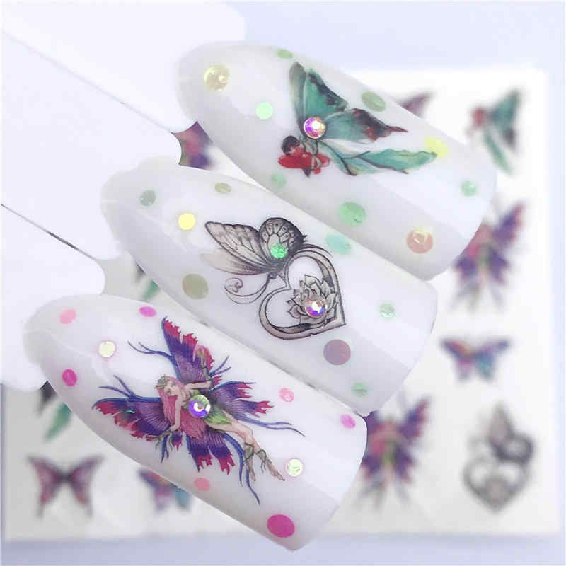 YWK 1 PC Gradient Nail Decals Water Transfer Sticker Blossom Butterfly Wraps Sliders Adhesive Decorations Manicure