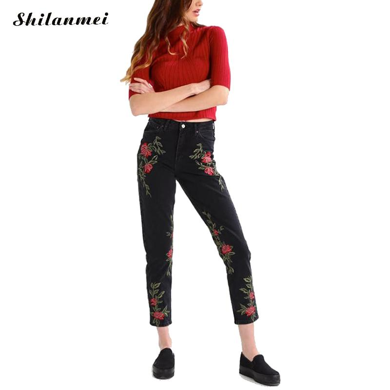 Flower Embroidery Denim Jeans Female Black Casual Pants Capris 2017 Spring Summer Pockets Harem Jeans Women High Waisted Jeans flower embroidery jeans female blue casual pants capris 2017 spring summer pockets straight jeans women bottom a46
