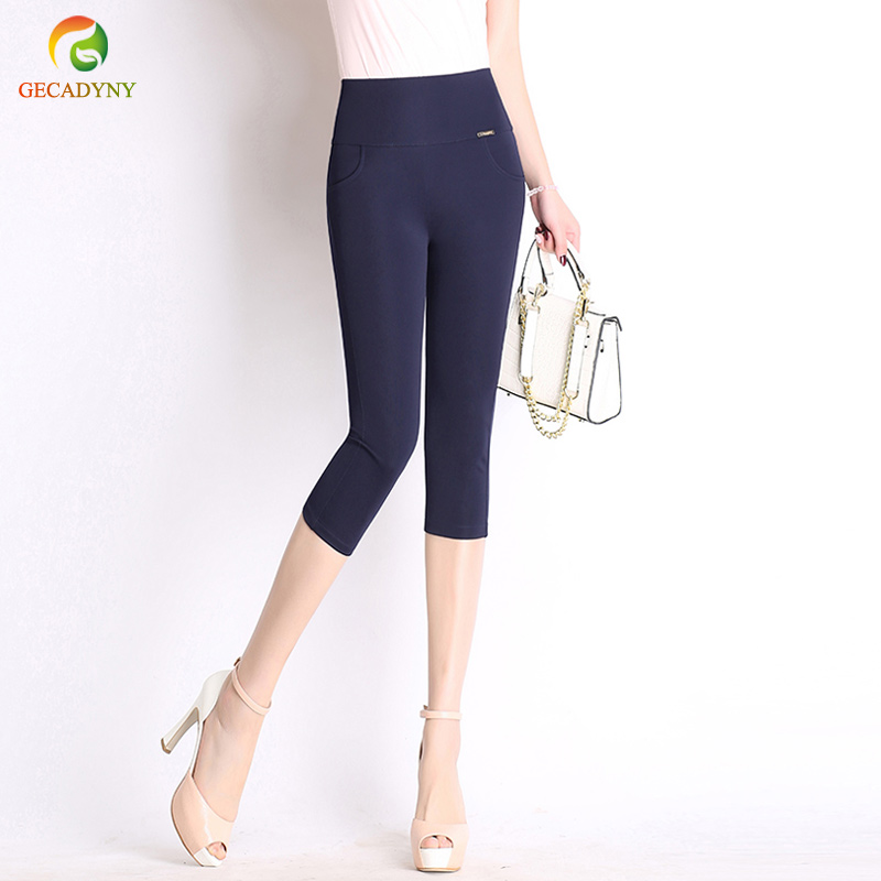Summer Style Women   Pants     Capris   Woman Solid Slimming Pantalon Femme High Waist Women Skinny Stretch   Capris   Plus Size S-6XL
