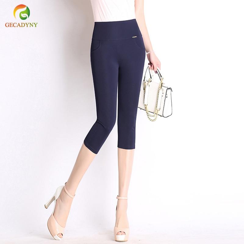 Summer Style Women   Pants     Capris   Woman Solid Slimming Pantalon Femme High Waist Women Skinny Stretch   Capris   Plus Size S-6XL