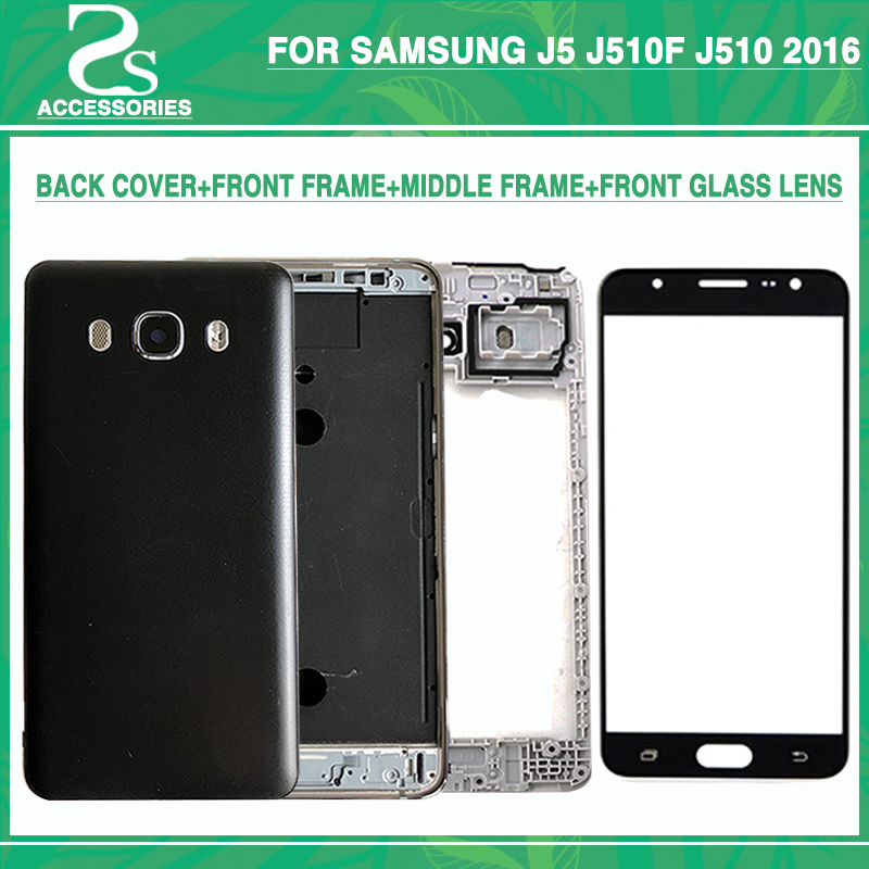 New J310 J510 J710 Front Middle Frame Battery Back Cover For Samsung J3 J5 J7 2016(Dual) Full Housing Case With Touch Glass Lens