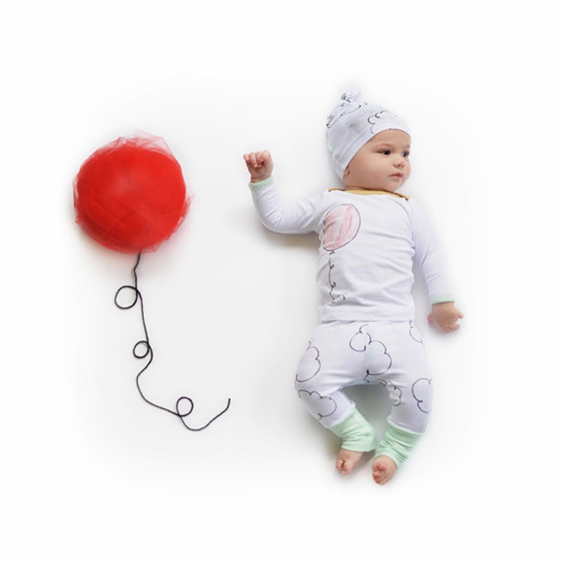 <font><b>2016</b></font> Autumn style infant clothes baby clothing sets boy Cotton Long sleeve Balloon cloud 3pcs suit baby boy clothes newborn image