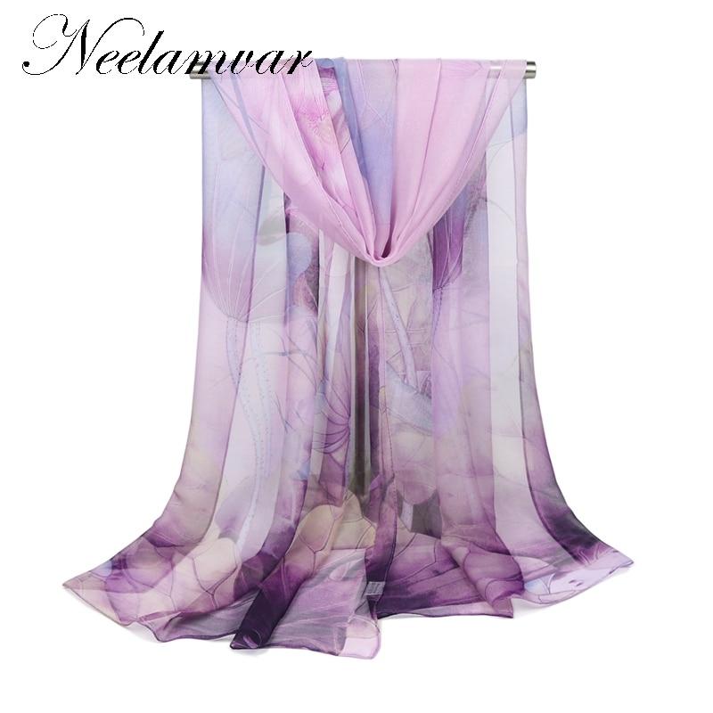 High quality  SOFT silk scarf lotuses print shawl hijab wrap women female winter spring summer Beach Cover-ups shawls Neelamvar