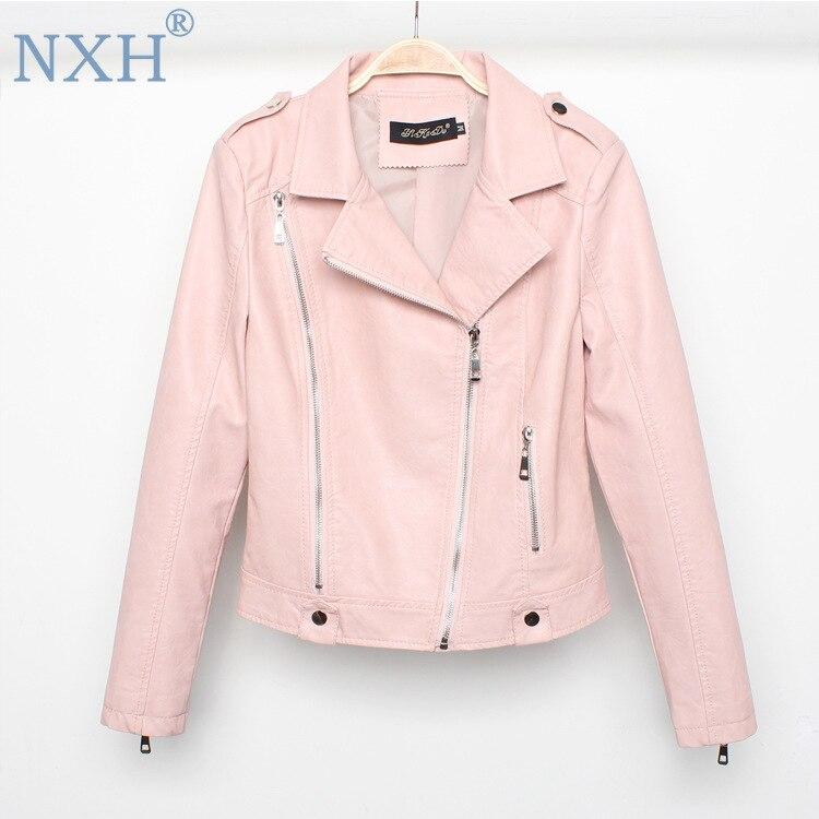 NXH PU   leather   jacket women 2018 autumn winters women's biker jacket shearling jacket black luxury jacket bright streetwear