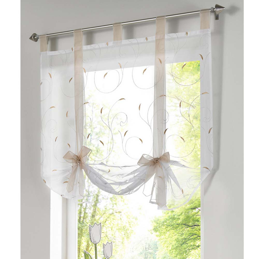 roman curtain new design floral embroidered sheer window curtain for kitchen living room voile
