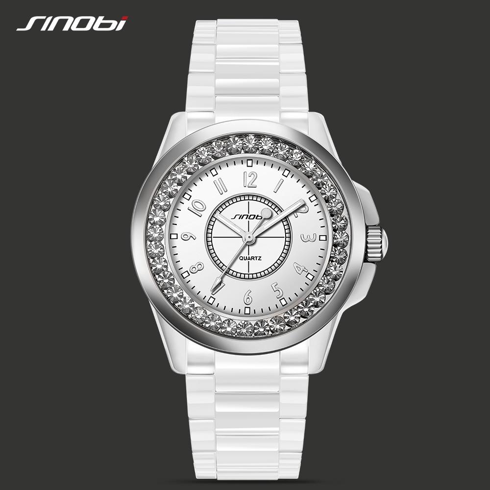 SINOBI Fashion Crystal Casual Wirstwatch Dress Clock Female Ceramic White Watch Women Girl Gift Watches Brand Relogio Feminino