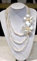 2017 thiết kế cổ điển new cultrue trắng ngọc trai nước ngọt Sea shell flower statement necklace cho phụ n