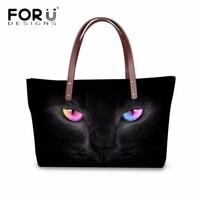 FORUDESIGNS Vintage Women S Handbags Cool Black Animal Cat Printed Women Luxury Cross Body Bags Female