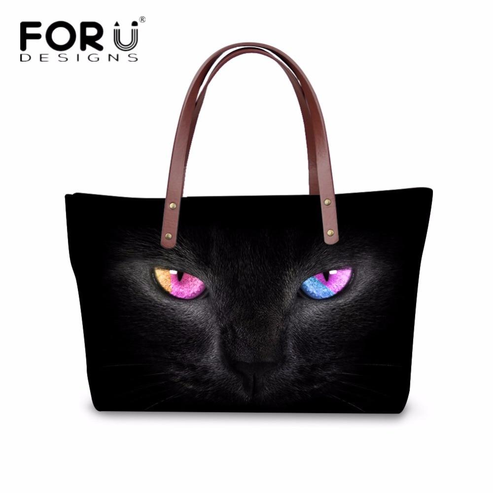 FORUDESIGNS Vintage Women's Handbags Cool Black Animal Cat Printed Women Luxury Cross Body Bags Female Tote Shoulder Bags Mujer
