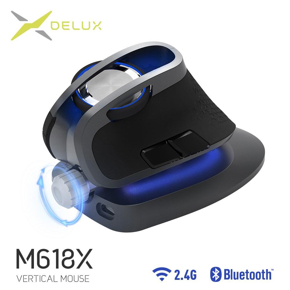 Delux M618X Réglable angle souris verticale sans fil Bluetooth 3.0 4.0 + 2.4 GHz Ergonomique Rechargeable Souris Pour 4 Windows Dispositifs