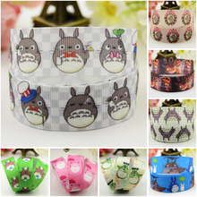 7/8'' (22mm) Totoro Cartoon Character printed Grosgrain Ribbon party decoration satin ribbons OEM 10 Yards 7 8 22mm owl cartoon character printed grosgrain ribbon party decoration satin ribbons oem 10 yards