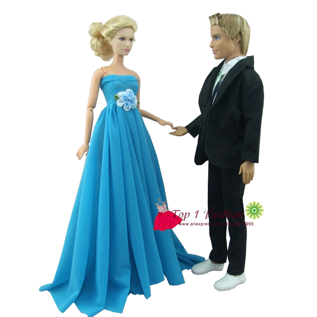 Free Shipping 2sets Sky Blue Evening Party Wedding Dress For Barbie Doll Ken Clothes Suit In Dolls From Toys Hobbies On Aliexpress
