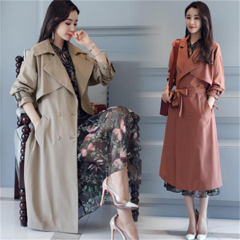 High quality Autumn New High Fashion Brand Woman Classic Double Breasted   Trench   Coat Waterproof Raincoat Business Outerwear