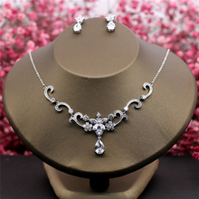 Vysor AAA Cubic Zirconia Necklace Earrings Sets Clear Zircon Stone Women Party Performance Jewelry Set Pendant Necklace Choker недорого