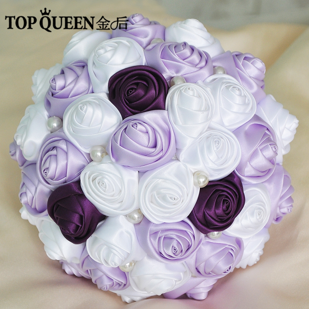 Topqueen F7 Wedding Bouquet Purple And Lavender Rose White Rose