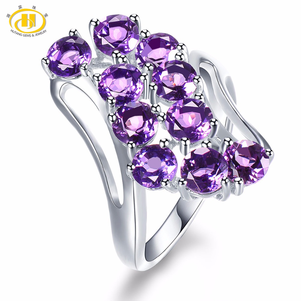 Hutang Amethyst Engagement Ring Natural Gemstone Solid 925 Sterling Silver Fine Fashion Stone Jewelry For Women's Girls' Gift hutang engagement ring natural gemstone amethyst topaz solid 925 sterling silver heart fine fashion stone jewelry for gift new