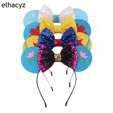 8pcs/lot  Minnie Mouse Ears Headband Party DIY Hair Accessories Headwear Christmas 5'' Sequin Hair Bow Hairband For Girls Women 1pc new valentine minnie mouse ears headbands 5 sequin bow hairband for girls kids party headband hair accessories