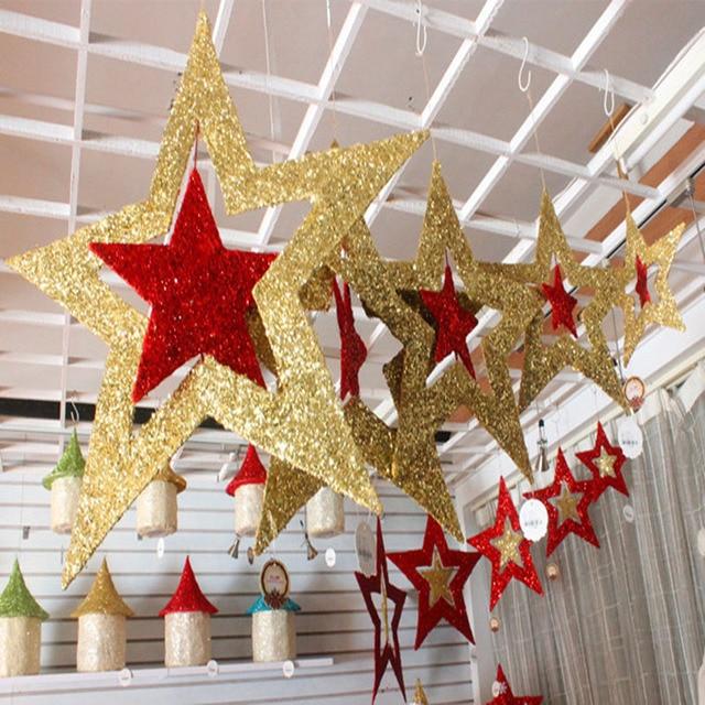 Weihnachtsfeier Dekoration.Us 79 0 10pcs Lot 2015 Weihnachtsfeier Dekoration Hohlen Sterne 30cm Pentagramm Decke Hängen Sterne Hotelbar Decke Ornamente Begünstigt In
