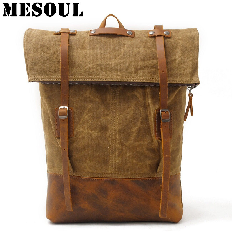 5e7a005203 MESOUL Waterproof Men Backpack Youth Canvas Preppy Style School Bags for  Male Vintage Big Travel Shoulder