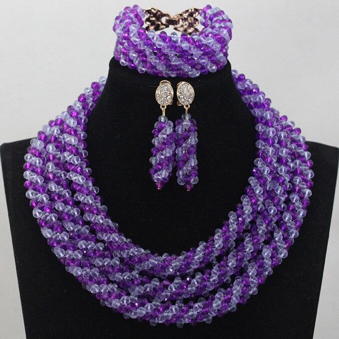 Модный комплект ювелирных изделий фиолетового и лилового цвета, комплект ювелирных изделий из кристаллов и фиолетовых бусин в африканском
