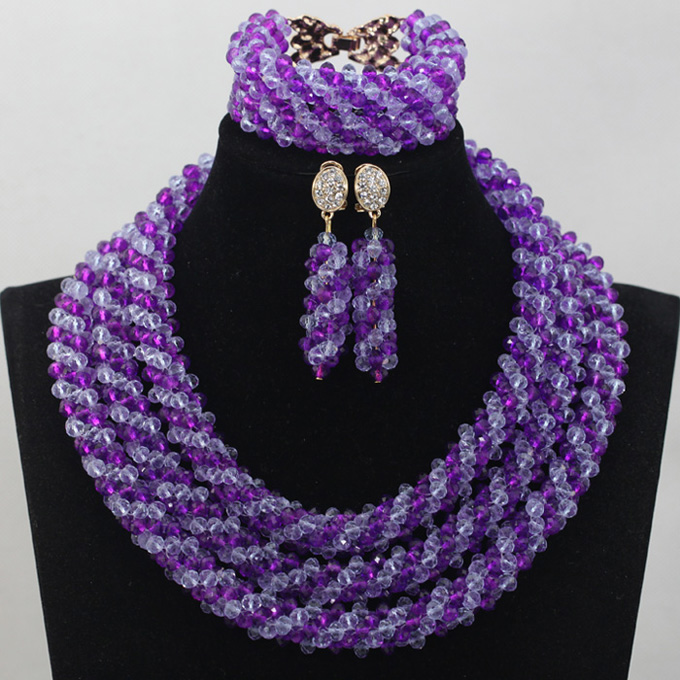 Trendy Charms Purple and Lilac Wedding Jewellery Set Crystal African Purple Beads Jewelry Set Gift for Women Free ShippingABL859