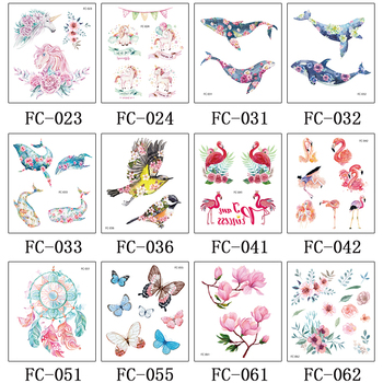 Rocooart Colorful Whales Fake Tattoo Body Art Flash Taty Flower Bird Temporary Tattoo Sticker For Women Tatouage Red Crane Tatoo