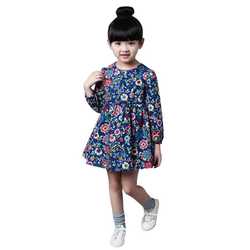 Toddler 2-7Y Kid Girl Long Sleeve Floral Cute Dress Party Dresses Autumn Clothes toddler girl dresses 2016 new baby girl dress yellow floral printed princess dress girl long sleeve cute toddler girl dresses