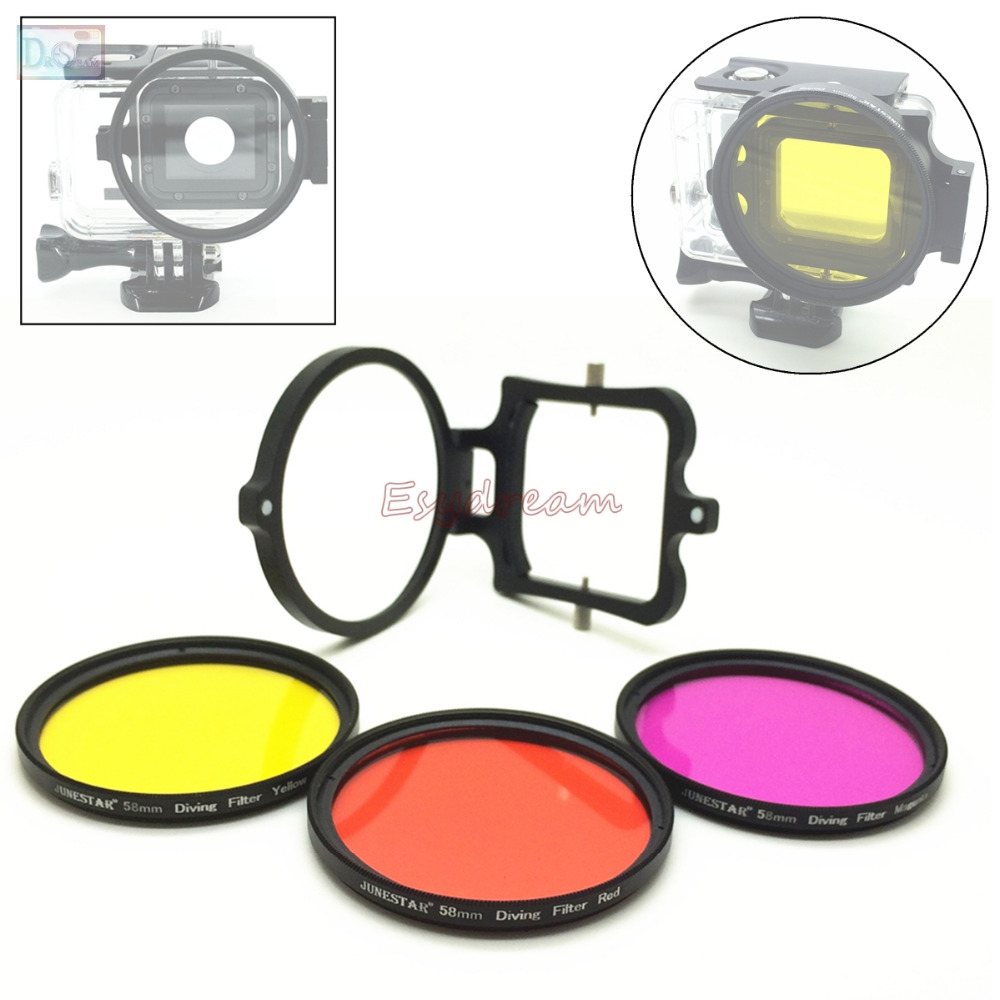 Professional 58 Red Yellow Magenta / Purple Filter + Ring Adapter Kit For Sea Diving Underwater Photography Gopro Hero 5 58mm